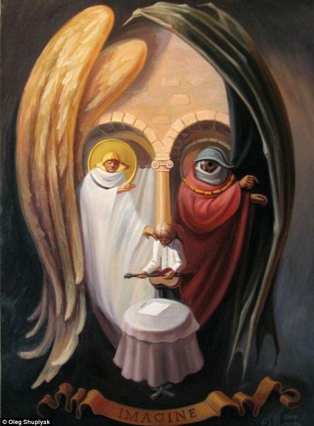 6 oleg shuplyak illusion painting beatles john lennon