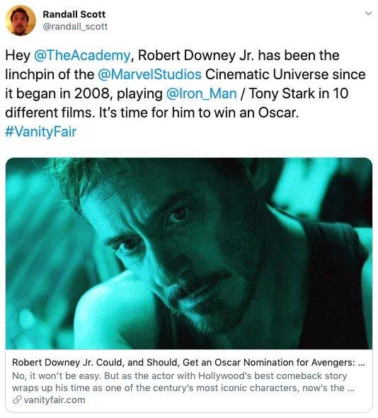 Người hâm mộ hy vọng Robert Downey Jr. có thể nhận tượng vàng Oscar nhờ 'Endgame'