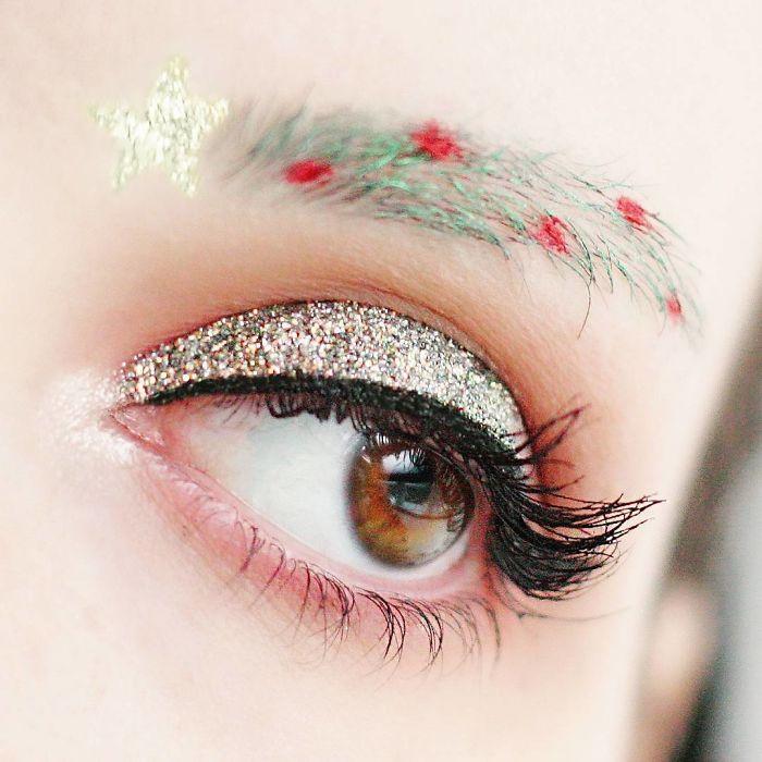 Chân mày cây thông - Trào lưu trang điểm Noel mới nhất của các nàng phương Tây