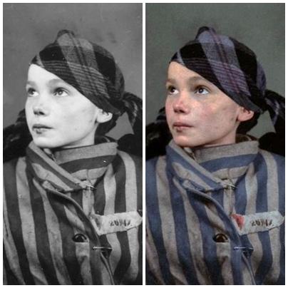 Hình ảnh cuối cùng của cô bé bị Đức Quốc Xã bắt giam được chỉnh màu