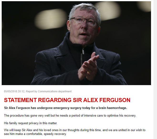 Ngài Alex Ferguson vượt qua cơn nguy kịch, hiện đang dần hồi phục