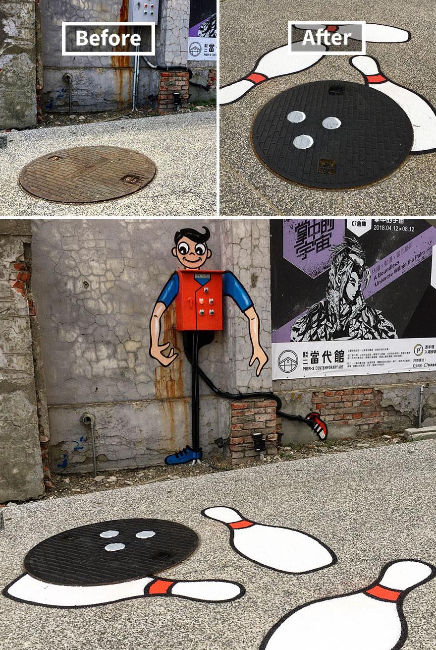 Graffiti biến đường phố thành sân chơi hoạt hình vui nhộn