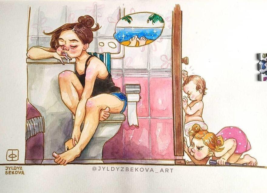 Cuộc sống rối tinh rối mù của 'mẹ trẻ bỉm sữa' qua nét vẽ màu nước đáng yêu