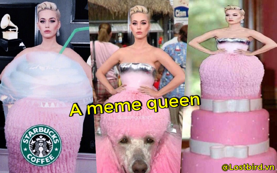 Sau Grammy 2019, Katy Perry lên ngôi 'Nữ hoàng meme' nhờ đầm hường kiểu búp bê cắm bánh sinh nhật