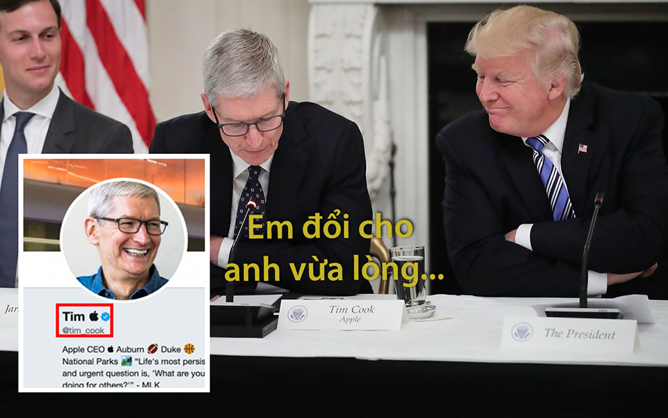 Bị Trump gọi nhầm thành Tim Apple, CEO Tim Cook đổi luôn tên Twitter cho Tổng thống vừa lòng