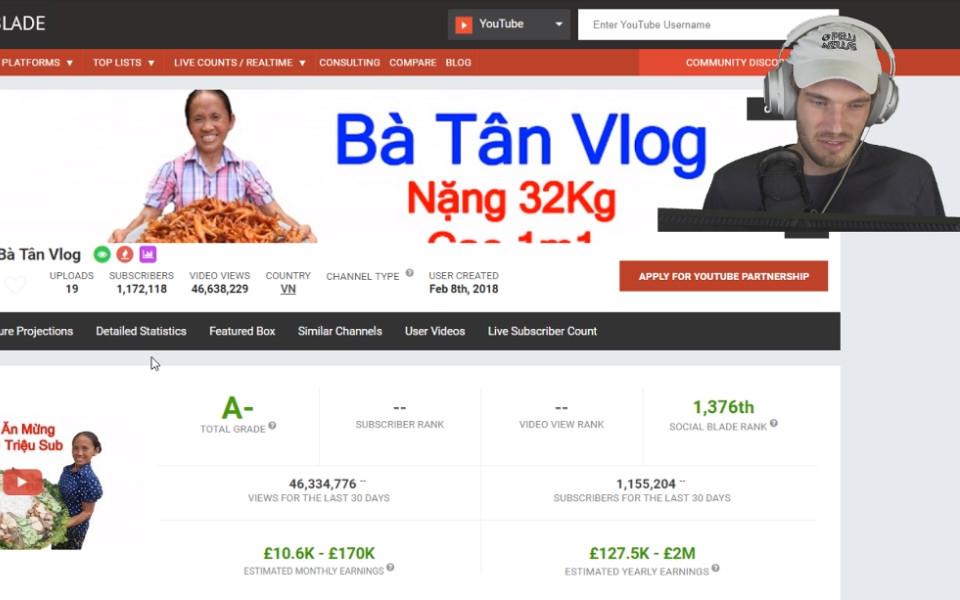 YouTuber lừng danh PewDiePie cũng choáng váng trước tốc độ tăng trưởng của Bà Tân Vlog
