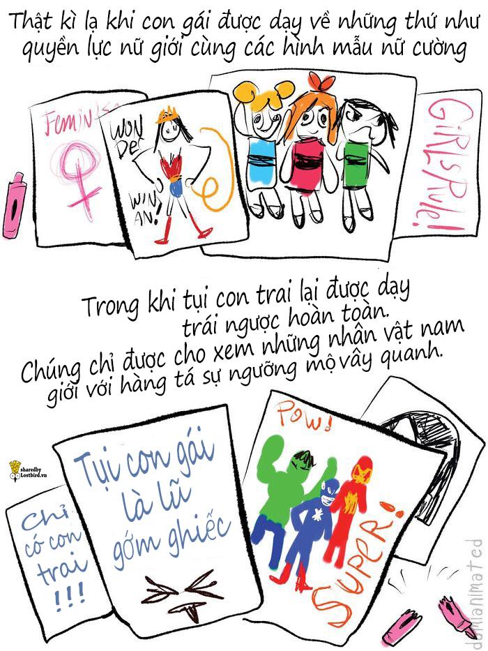Bộ tranh: Những hành động nhỏ của người lớn khiến các bé trai phát triển sự kì thị nữ giới