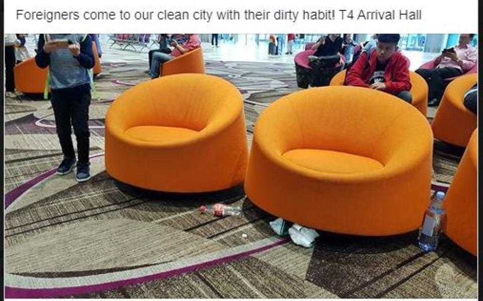Người Việt bị nghi xả rác bừa bãi ở sân bay quốc tế Changi