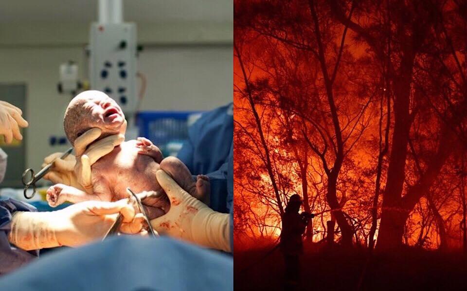 Đau đớn nhìn những đứa trẻ sinh ra trong căn phòng ngập tràn khói lửa từ trận cháy rừng ở Úc