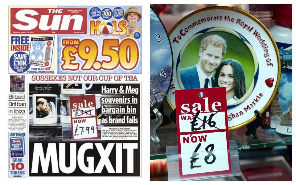 'Mugxit': Quà lưu niệm in hình Harry và Meghan được 'sale off' đến 50% nhưng không ai thèm mua
