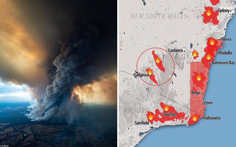 Cháy rừng ở hai bang nước Úc có thể 'giao nhau' và gây ra bão lửa khủng khiếp vào cuối tuần