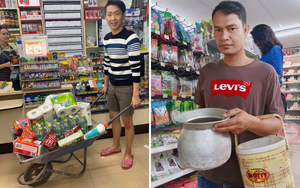 Chính phủ cấm sử dụng túi nhựa, người dân Thái Lan hài hước mang từ xe cút kít đến vali đi chợ