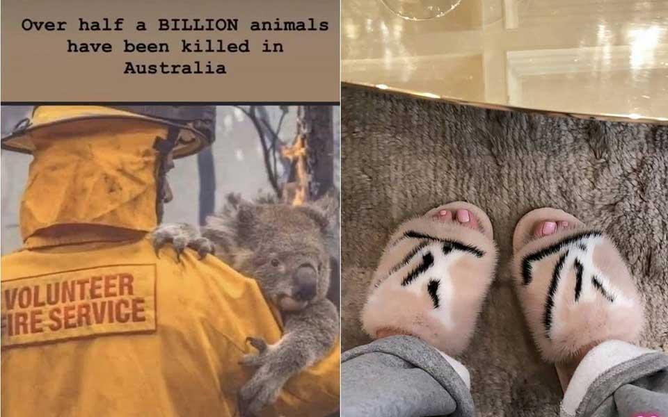 Kylie Jenner khoe dép lông chồn sau khi đăng ảnh xót thương động vật trong vụ cháy rừng Australia