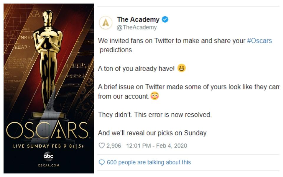 Ban tổ chức Oscar bị hố nặng khi tự đăng tải dự đoán kết quả phim thắng giải của chính họ?