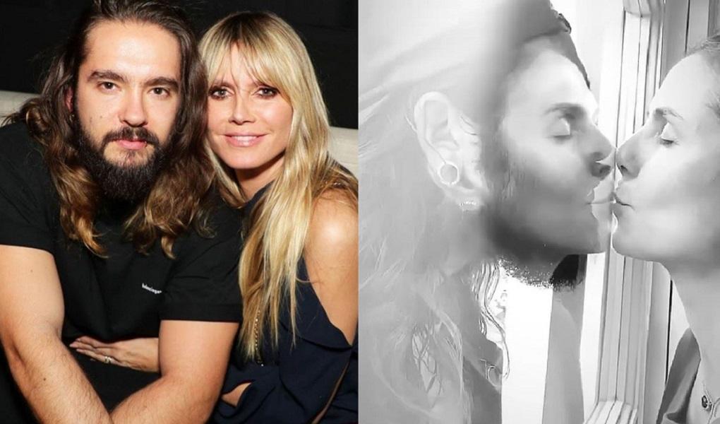 Vợ chồng Heidi Klum và Tom Kaulitz hôn nhau qua tấm kính khi đang bị cách ly dịch covid-19