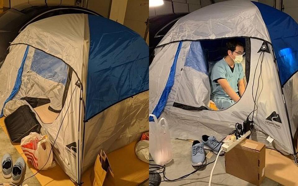 Để bảo vệ gia đình khỏi dịch bệnh, bác sĩ người Mỹ dựng lều ngủ trong gara nhìn vừa thương vừa buồn cười