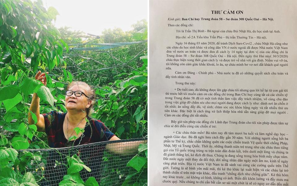 Cháo hành miễn phí: Bà ngoại in hẳn tâm thư cảm ơn doanh trại chăm sóc cháu gái bị cách ly