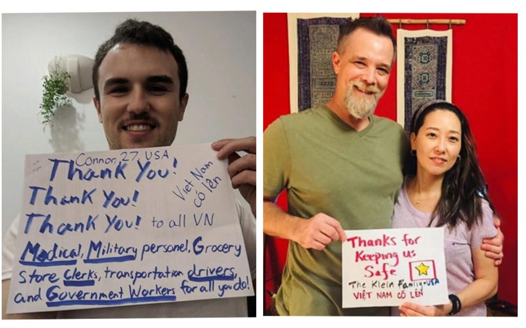 Ấm lòng hình ảnh người nước ngoài cổ vũ Việt Nam bằng cách lan tỏa thông điệp 'Việt Nam cố lên'
