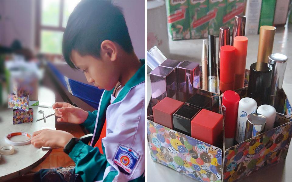 Cháo hành miễn phí: Em trai nhà người ta, bé tí đã tự làm hộp đựng son siêu xịn cho chị
