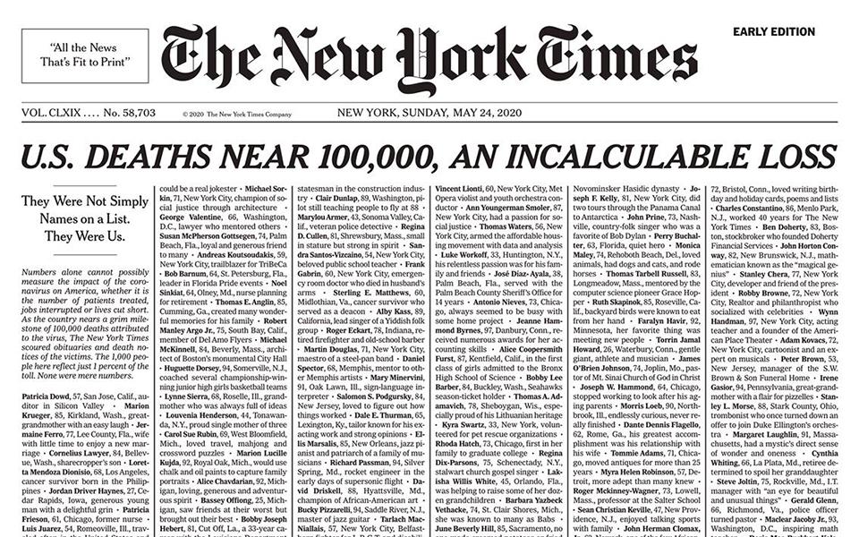 'Mất mát không thể đo đếm': Thời báo New York bao trùm trang nhất với tên 1.000 người chết vì Covid-19