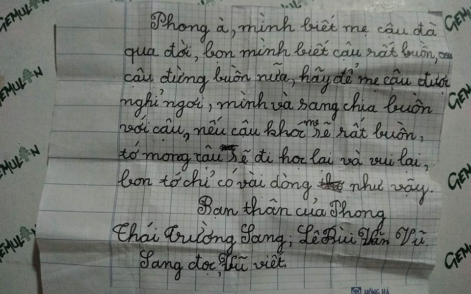 Bức thư tay ngô nghê của bạn học gửi cho cậu bé 8 tuổi mất mẹ ai đọc cũng rưng rưng