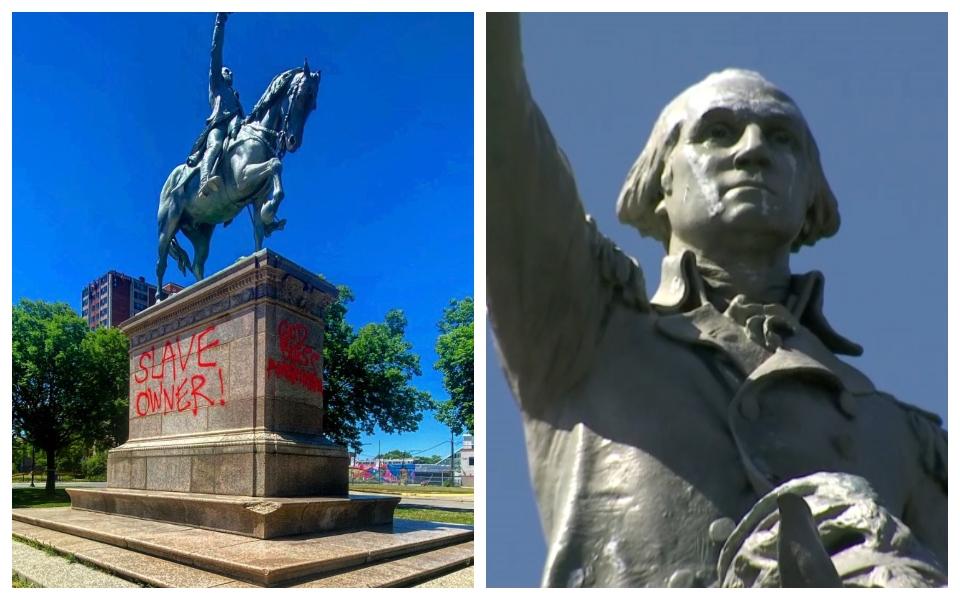 Tượng đài George Washington - tổng thống đầu tiên của nước Mỹ bị người biểu tình bôi nhọ