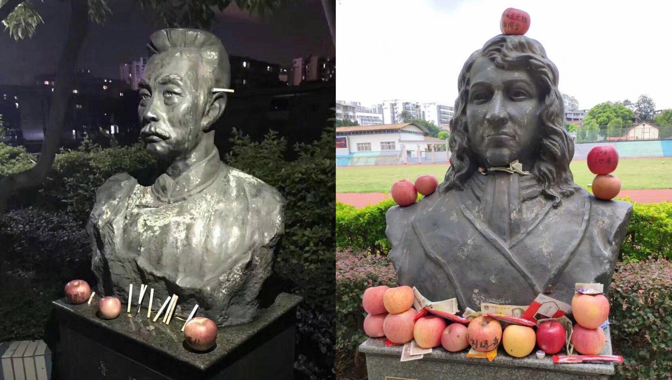 Sĩ tử Trung Quốc đặt đồ cúng 'ngập mặt' các pho tượng học sĩ trước kì thi đại học