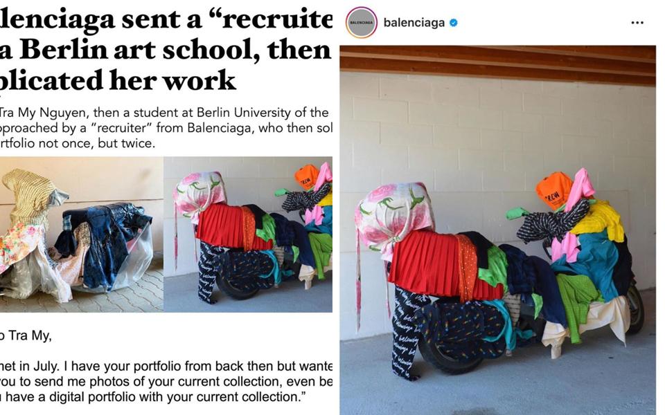 Trang Instagram nổi tiếng tố cáo thương hiệu Balenciaga ăn cắp ý tưởng của nghệ sĩ Việt Nam