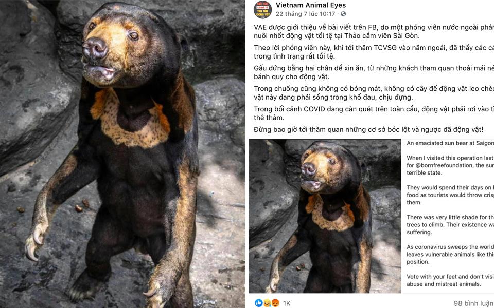 Vietnam Animal Eyes 'tố' Thảo Cầm Viên Sài Gòn đối xử tàn nhẫn với động vật gây tranh cãi dữ dội