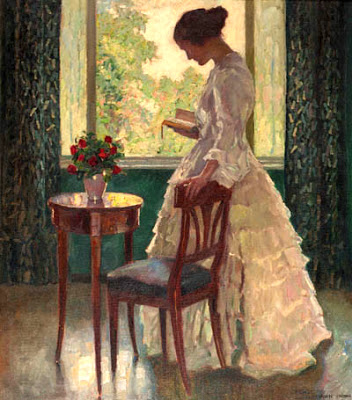 a lady reading a book