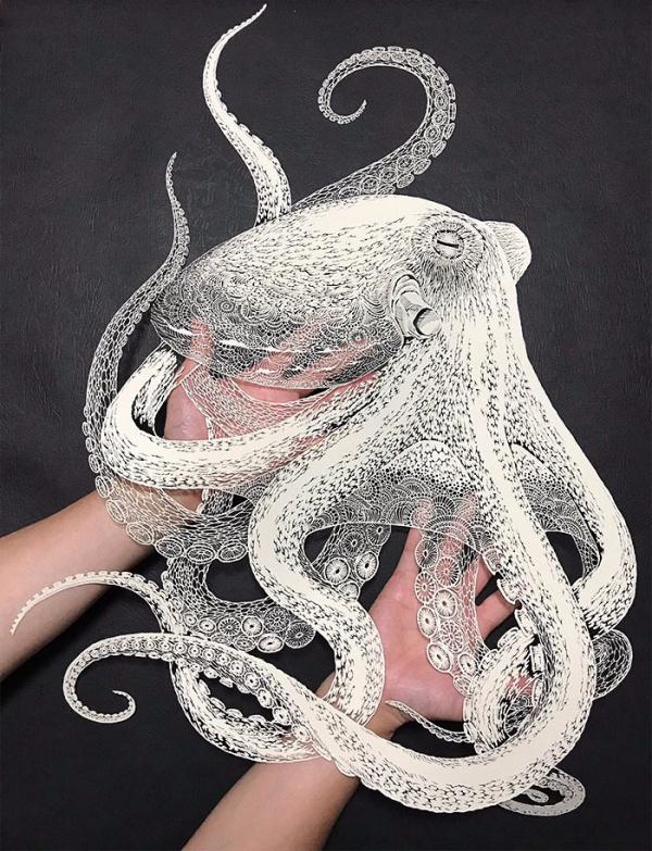 kirie art paper cutting octopus masayo fukuda japan 2 1