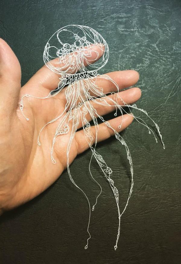 kirie art paper cutting octopus masayo fukuda japan 8