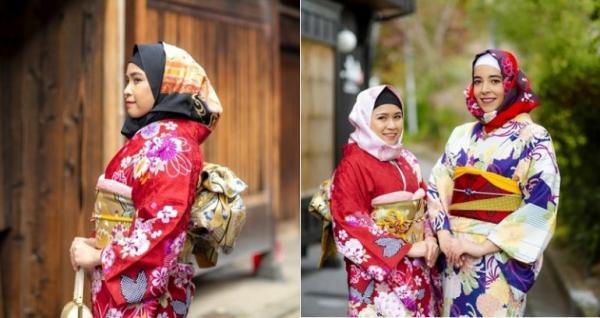 Thêm phụ kiện khăn trùm đầu dành cho phụ nữ Hồi giáo khi thuê Kimono ở Nhật Bản