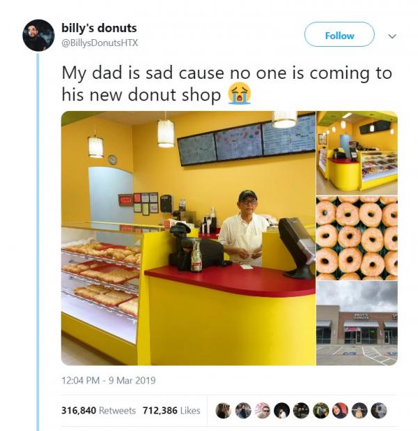 Con trai đăng tweet kêu gọi mọi người đến mua bánh donut ở cửa hàng của bố mẹ vì quá ế và kết quả bất ngờ