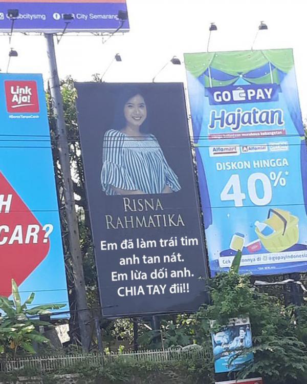Phát hiện bị bạn gái 'cắm sừng', thanh niên thuê cả biển quảng cáo để nói lời chia tay