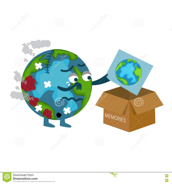 damaged earth cartoon throwing picture previous better condition vector 73669503