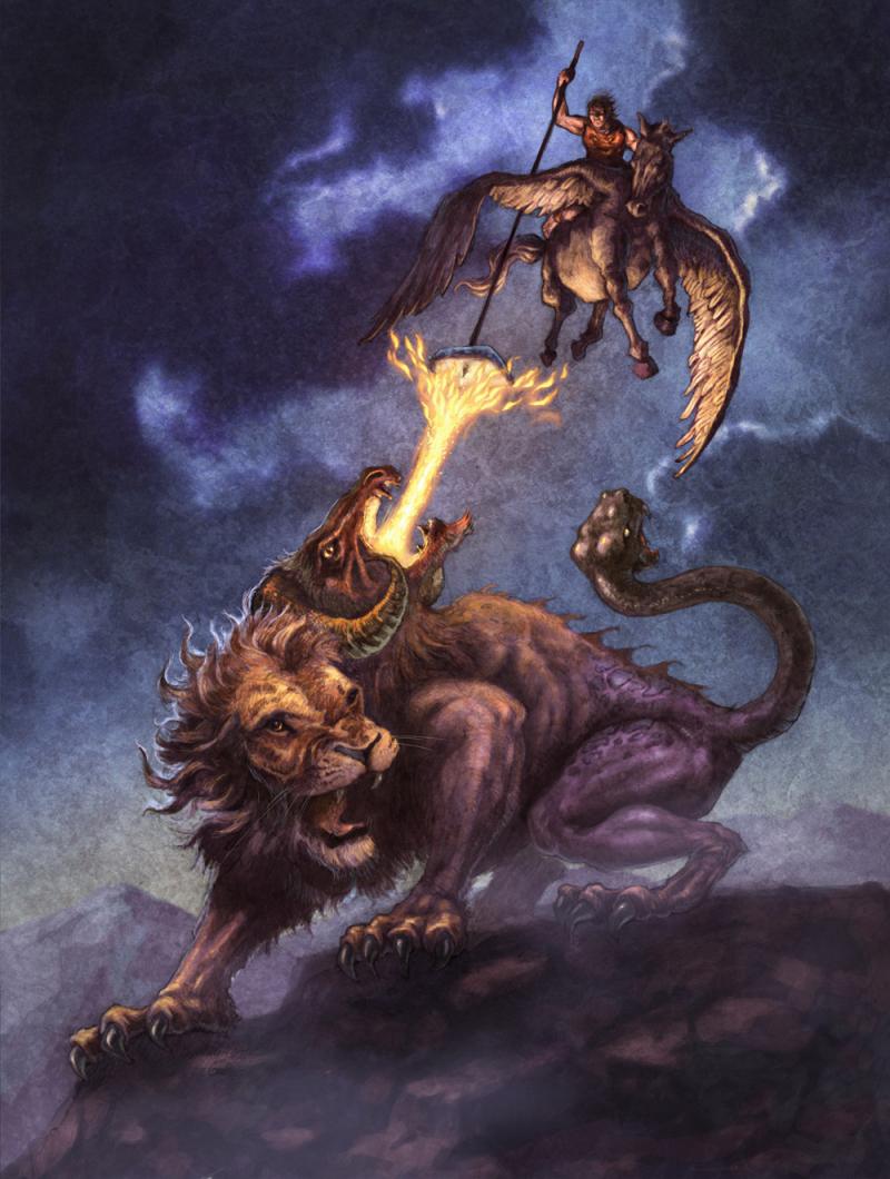 Chimera - Con quái vật khát máu trong thần thoại Hy Lạp được kết hợp từ sư tử, dê và rắn độc
