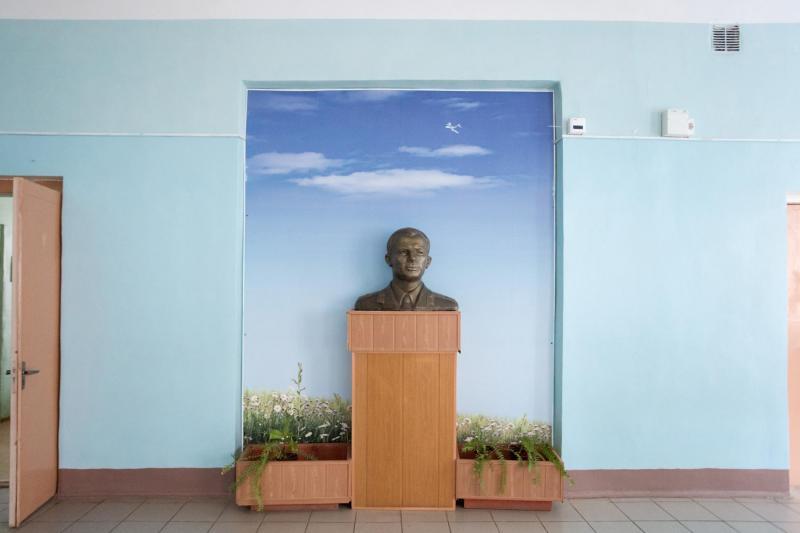 Một tác phẩm điêu khắc Yuri Gagarin tại khu vực công cộng.