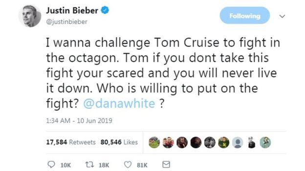 Justin Bieber thách Tom Cruise quyết đấu trên võ đài UFC