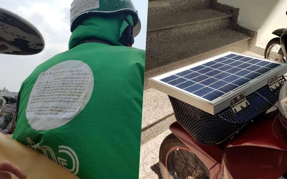 'Tan chảy' trước anh Grab Bike đáng yêu lắp hẳn pin mặt trời trên xe, còn dán cả 'tuyên ngôn sứ mệnh' khi hành nghề
