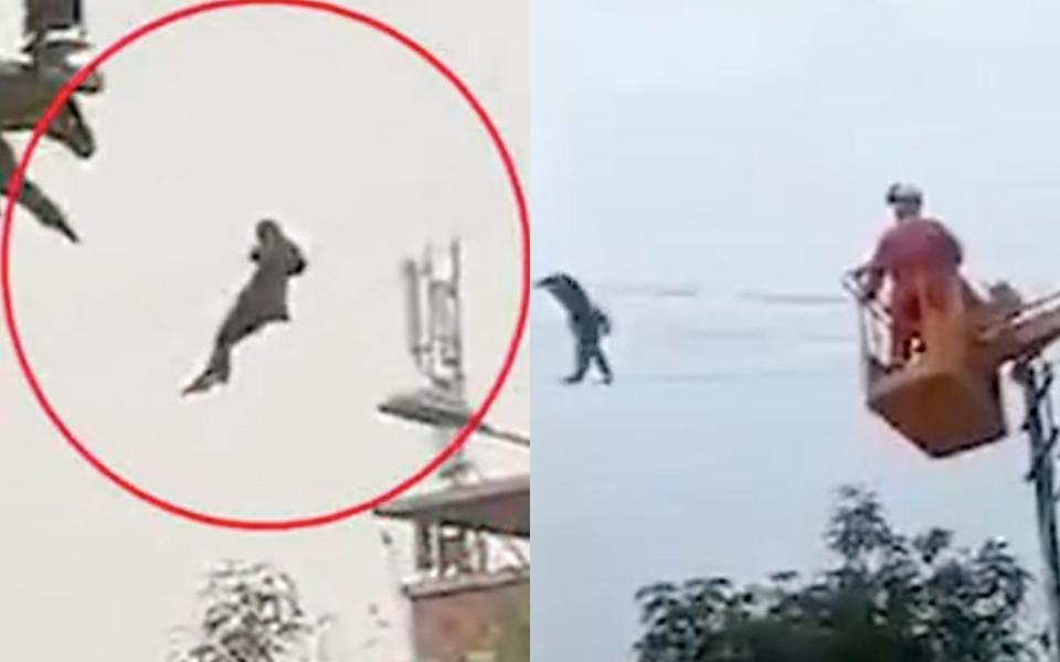 Trung Quốc : Anh trai say rượu tưởng mình là Tiểu Long Nữ khi thử đi dạo trên đường dây điện và cái kết