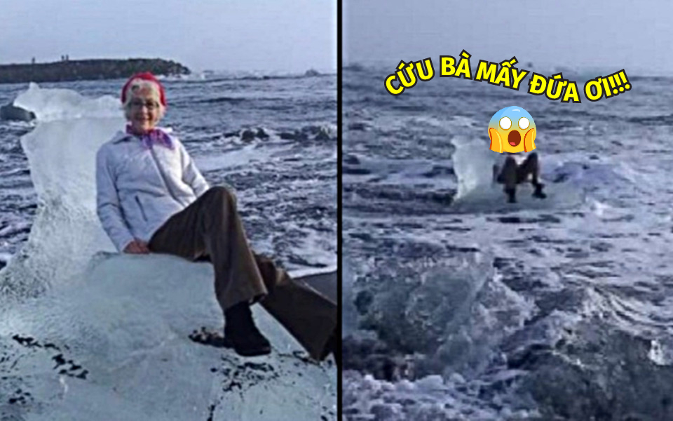 Mải tạo dáng chụp ảnh 'check-in' ở Iceland, bà cụ giật mình kêu cứu vì băng trôi lúc nào không hay