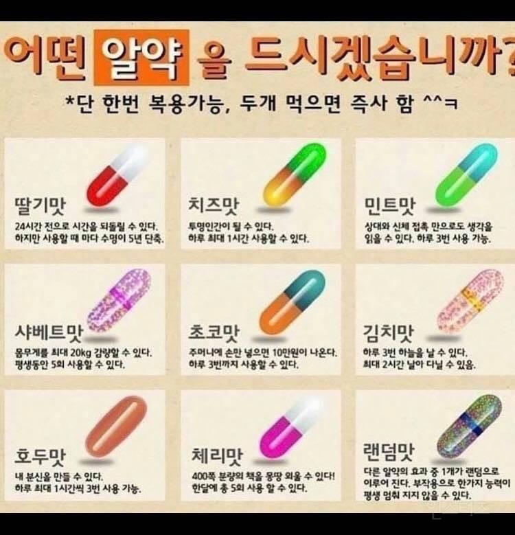 Nếu như bạn sống và chỉ được dùng một viên thuốc nhiệm màu duy nhất, bạn sẽ chọn viên nào?