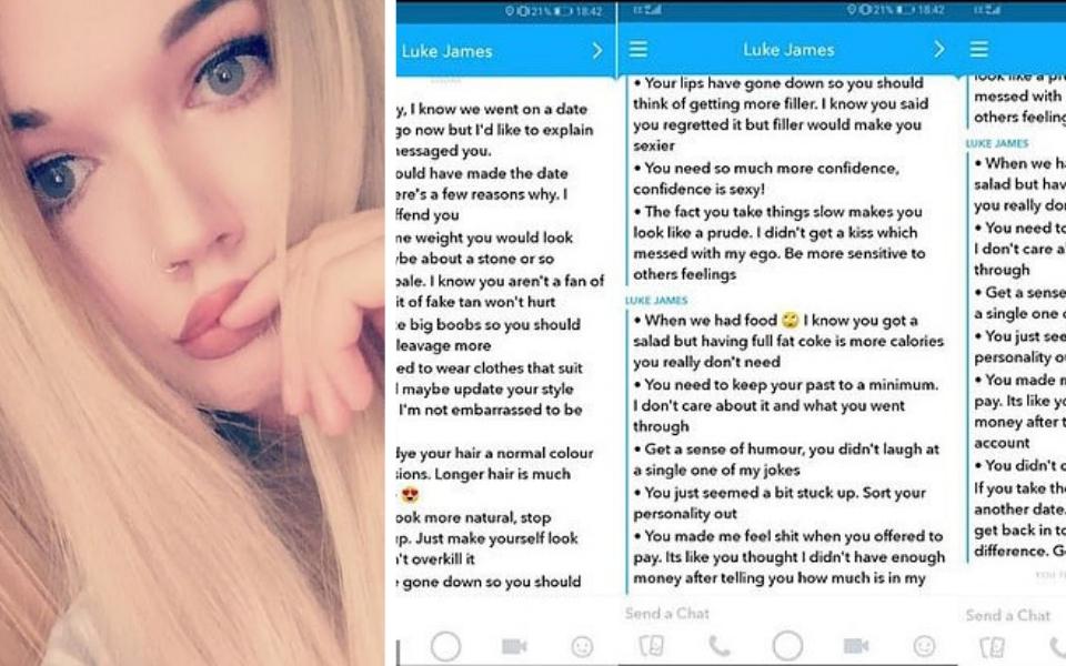 Cô gái Anh choáng váng khi bạn hẹn Tinder gửi danh sách '15 điều cần cải thiện' sau lần gặp đầu tiên