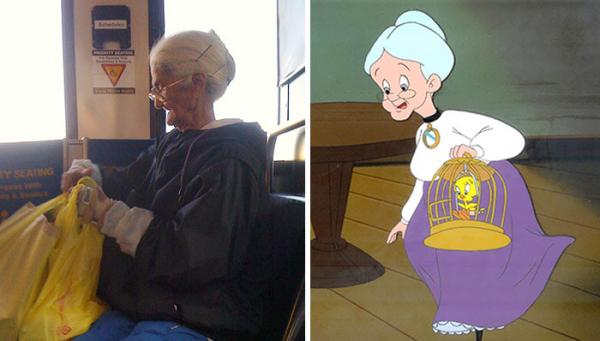 Vô tình gặp nhân vật hoạt hình 'bằng xương bằng thịt' ở ngoài đời