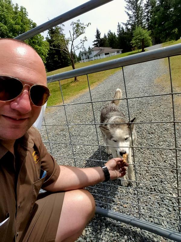 'Tình thương mến thương' giữa nhân viên giao hàng và các chú chó cưng của chủ nhà