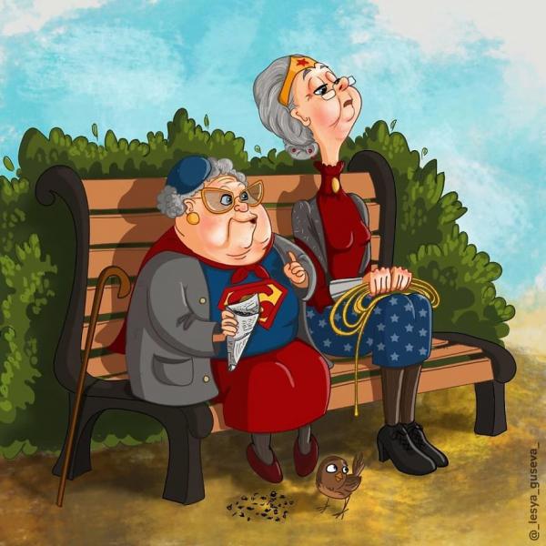 Những bức tranh dí dỏm miêu tả cuộc sống về già của các nhân vật điện ảnh nổi tiếng