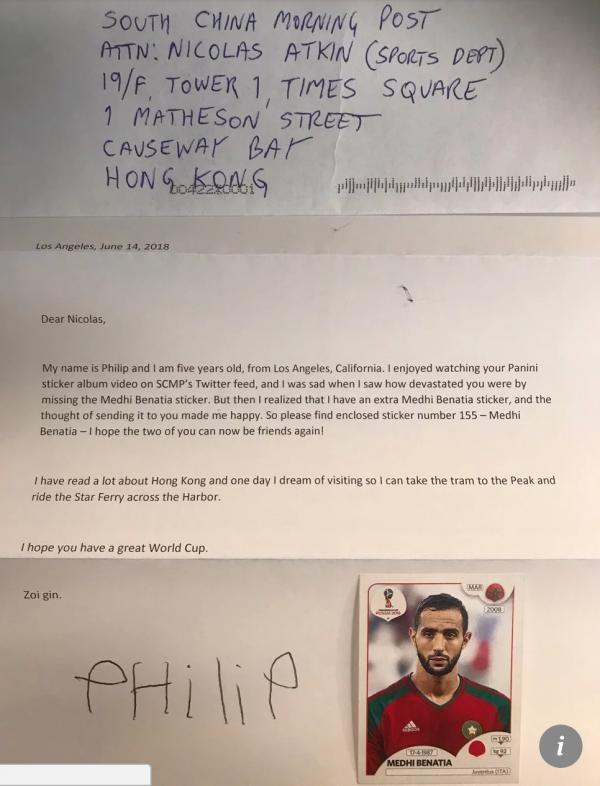 Cậu bé 5 tuổi tốt bụng gửi bộ Panini World Cup vượt 11.000 km tới cho người lạ