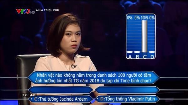 Chỉ với một cú chốt, nữ người chơi Ai Là Triệu Phú chứng tỏ khả năng 'cân cả thế giới'