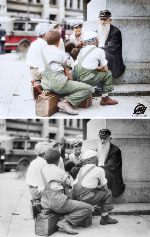 Họa sĩ 'phục chế' những bức ảnh trắng đen nổi tiếng và đây là kết quả